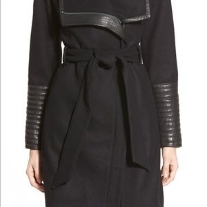 Wool and faux leather wrap jacket
